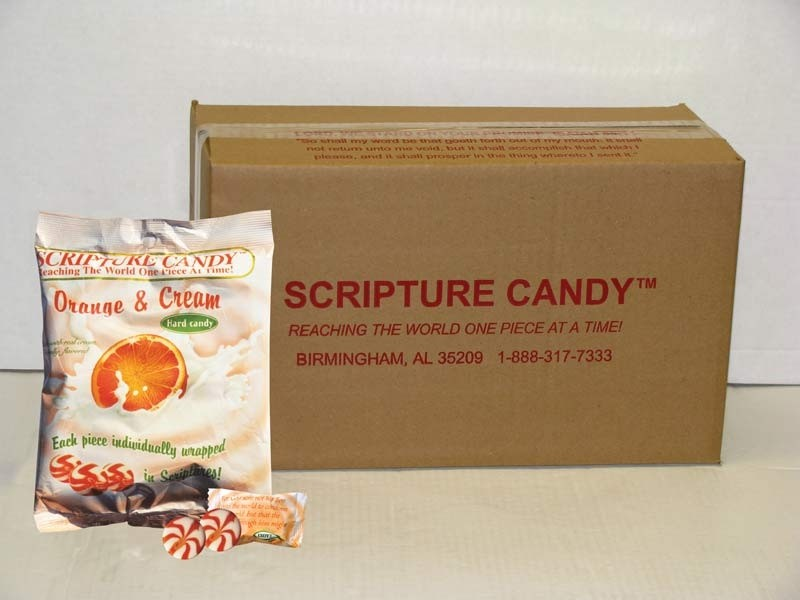 Orange and Cream Scripture Candy Bags Case