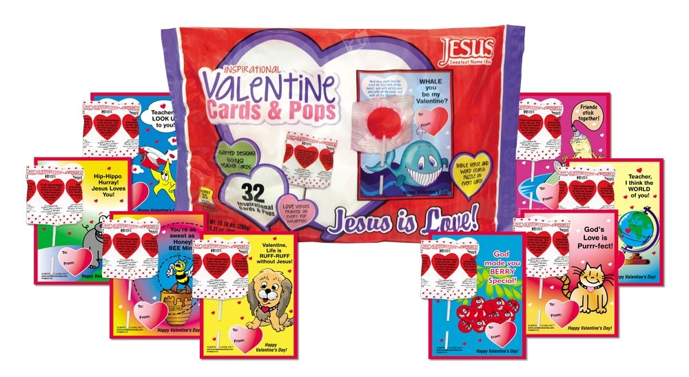 Valentine Christian Candy Lollipops and Cards