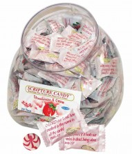Strawberries and Cream Scripture Candy Jar